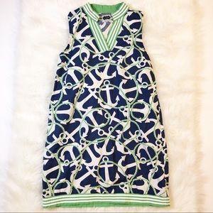 Mud Pie green blue anchor v-neck shift dress med.